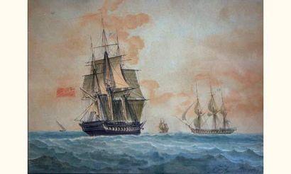 Antoine ROUX père (1765-1835) « Frégate anglaise vue par le trois-quart arrière...