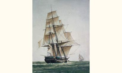 Antoine ROUX père (1765-1835) « Frégate vue par son trois-quart arrière tribord,...