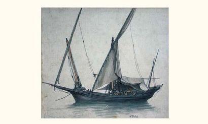 Antoine ROUX père (1765-1835) « Petit chébec, de construction majorquine, au mouillage,...