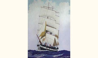 Léon HAFFNER (1881-1972) « Trois-mâts sous voiles vu de face » Gouache au pochoir,...