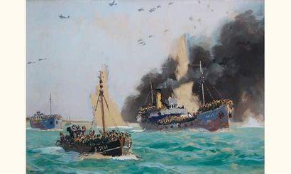 Albert Brenet (née en 1903) Peintre de la marine. Dunkerque. Le réembarquement sur...