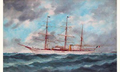 Edouard Adam (1847-1929). Peintre de la marine. « Voilier mixte à trois mats au...