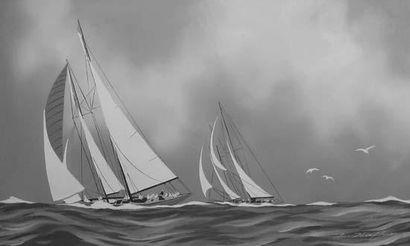 """Léon HAFFNER (Peintre de la Marine) """" Deux yachts en régate """" Très belle gouache..."""