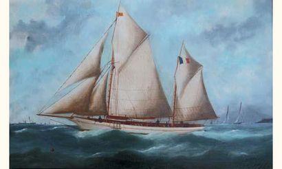 "Edouard ADAM "" Goëlette sortant du port du Havre. Au fond le Cap de la HÈVE "" Huile..."