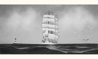 """Léon HAFFNER (1881-1972) """" Trois-mâts carré devant un phare """" Gouache au pochoir,..."""