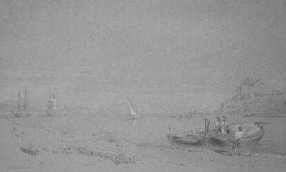 Antoine-Léon MOREL-FATIO (1810-1871). Peintre de la Marine « Rade de Baïa, près...