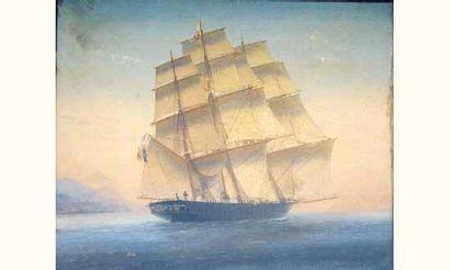 Louis-Honoré GAMAIN (1803-1871) « Trois-mâts...