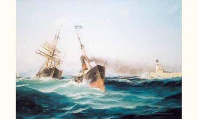 Émile GODCHAUX, (né en 1860) « Grand voilier...