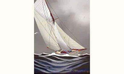 Léon HAFFNER, (1881-1972) « Voilier au près » Gouache au pochoir, signée en bas...