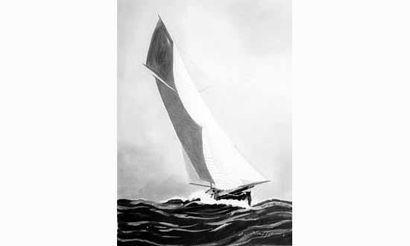 Léon HAFFNER, (1881-1972) « Yacht vu par...