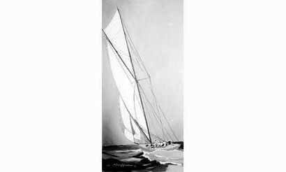 Léon HAFFNER, (1881-1972) « Yacht » Gouache...
