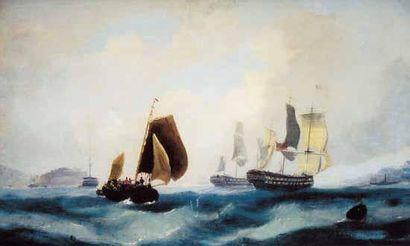 École ANGLAISE, XIXe siècle « Deux vaisseaux...