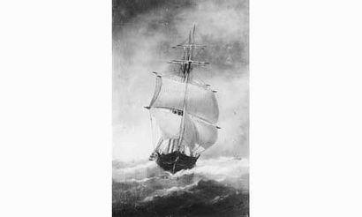Édouard ADAM (1847-1929) Peintre de la marine « Trois-mâts vu par l'avant » Huile...