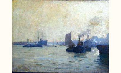 Eugène VAIL « Le port de Londres » Huile...