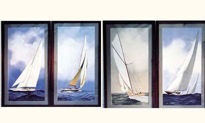 Léon HAFFNER (1881-1972) « Yachts » Rare ensemble de quatre grandes gouaches. Bon...