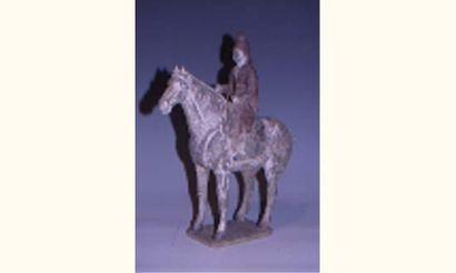 Dignitaire sur son cheval en terre cuite...