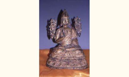 Tibet - Exceptionnel Tsong Khapa assis en...