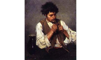Lajos DEAK-EBNER (1850-1934) « Le fumeur de pipe, 1882 » Huile sur panneau d'acajou,...