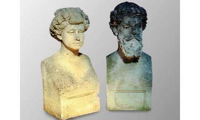 Paire de bustes symbolisant les Saisons :...