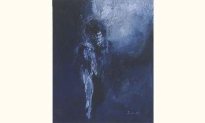 L'homme bleu / Huile sur toile / SBD / 24...