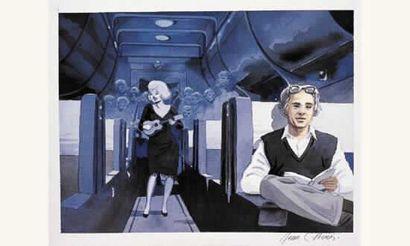 DENIS Jean-Claude «Trains de Plaisir». Aquarelle....