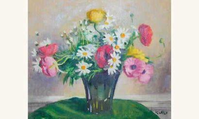 Hans Keller Vase de fleurs, pavots et marguerites...