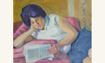 Hans Keller Jeune femme à la lecture Huile...