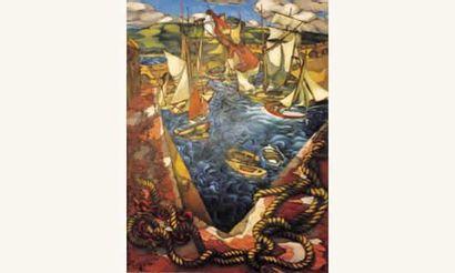 Georges Roubaudo Voiliers au port et cordages...