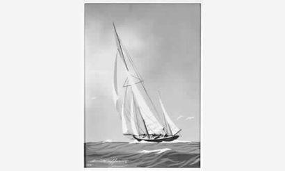 Léon HAFFNER (1881-1972) « Yawl remontant...