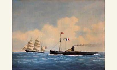 "Eugène GRANDIN (1833-1919) « Remorqueur ""Abeille..."