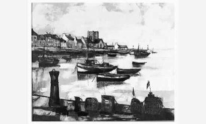 Pïerre MAS « Le port de Barfleur » Huile...