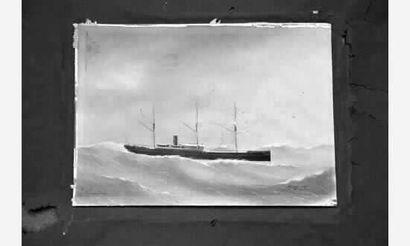 """GRANDIN Eugène (1833-1919) Peintre de la Marine « Le vapeur mixte """"Louise Jenny""""..."""