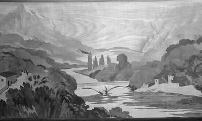 ROSENAU. « Paysage avec rivière et montagne...