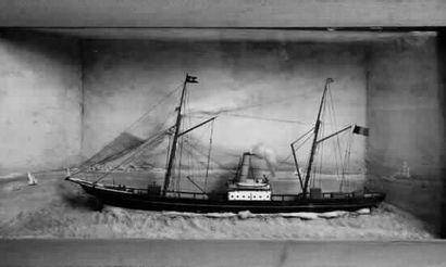 Maquette en diorama d'un yacht mixte. « Le...