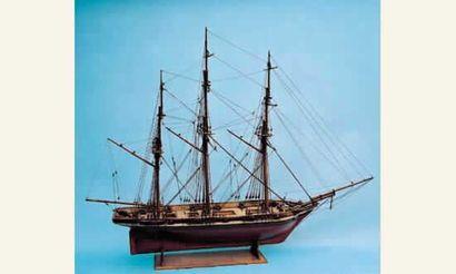 Maquette de trois-mâts barque armé de 16...