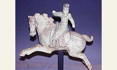 Dame de cour sur un cheval en extension dite...