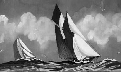 HAFFNER « Deux grands yachts en régate »Gouache au pochoir. 39x80 cm. 7 000/8 0...