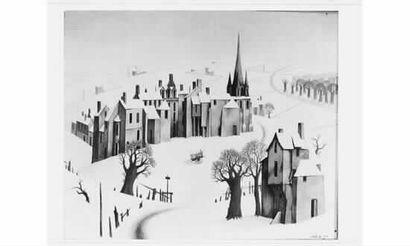 Claude VERLINDE (né en 1927) « Village sous...