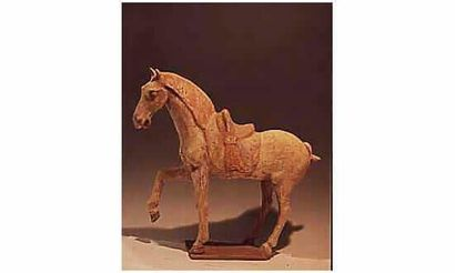 TANG(618-907 ap.J.C.) Prancing horse en terre...