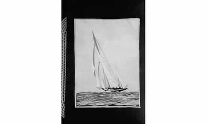 Léon HAFFNER « Grand yacht vu par l'arrière...