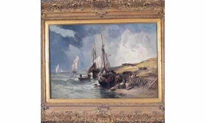 Jules NOËL (1815-1881). «Le Tréport ». Huile...
