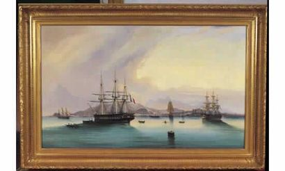 DUBREUIL. « Navires trois-mâts et brique...