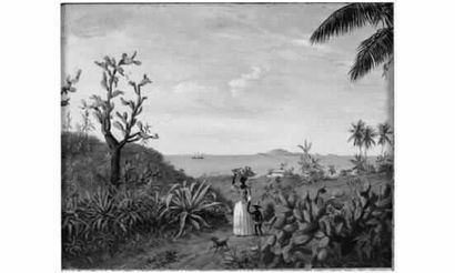 Gustave ALAUX (1887-1965). Peintre de la marine. « Le soir aux îles ». Huile sur...