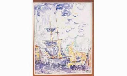 """Paul SIGNAC: LE PORT DE SAINT-TROPEZ Aquarelle signée, située et datée """"01"""" en bas..."""