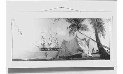 Albert BRENET, né en 1903, peintre de la Marine. Escale d'une frégate française....