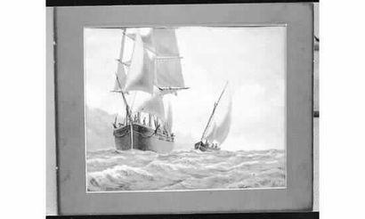 Ecole MARSEILLAISE, XIXe siècle. Barque approchant...