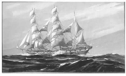 Georges FOUILLÉ. Trois-mâts barque vue par...