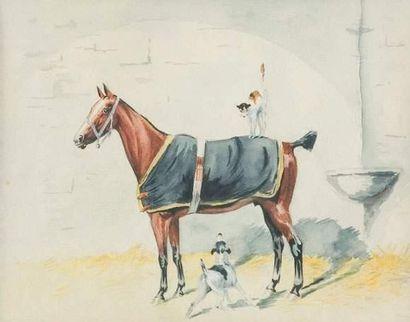 Xavier de PORET (1894-1975) « Cheval à l'écurie,...