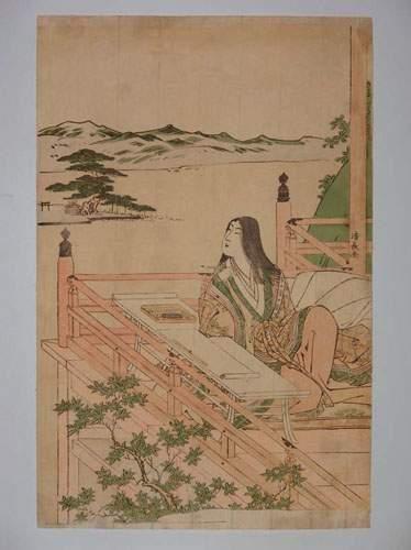 JAPON Estampe de Kiyonaga, une jeune femme...