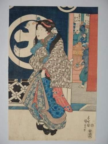 JAPON Estampe de Kunisada, une jeune femme...